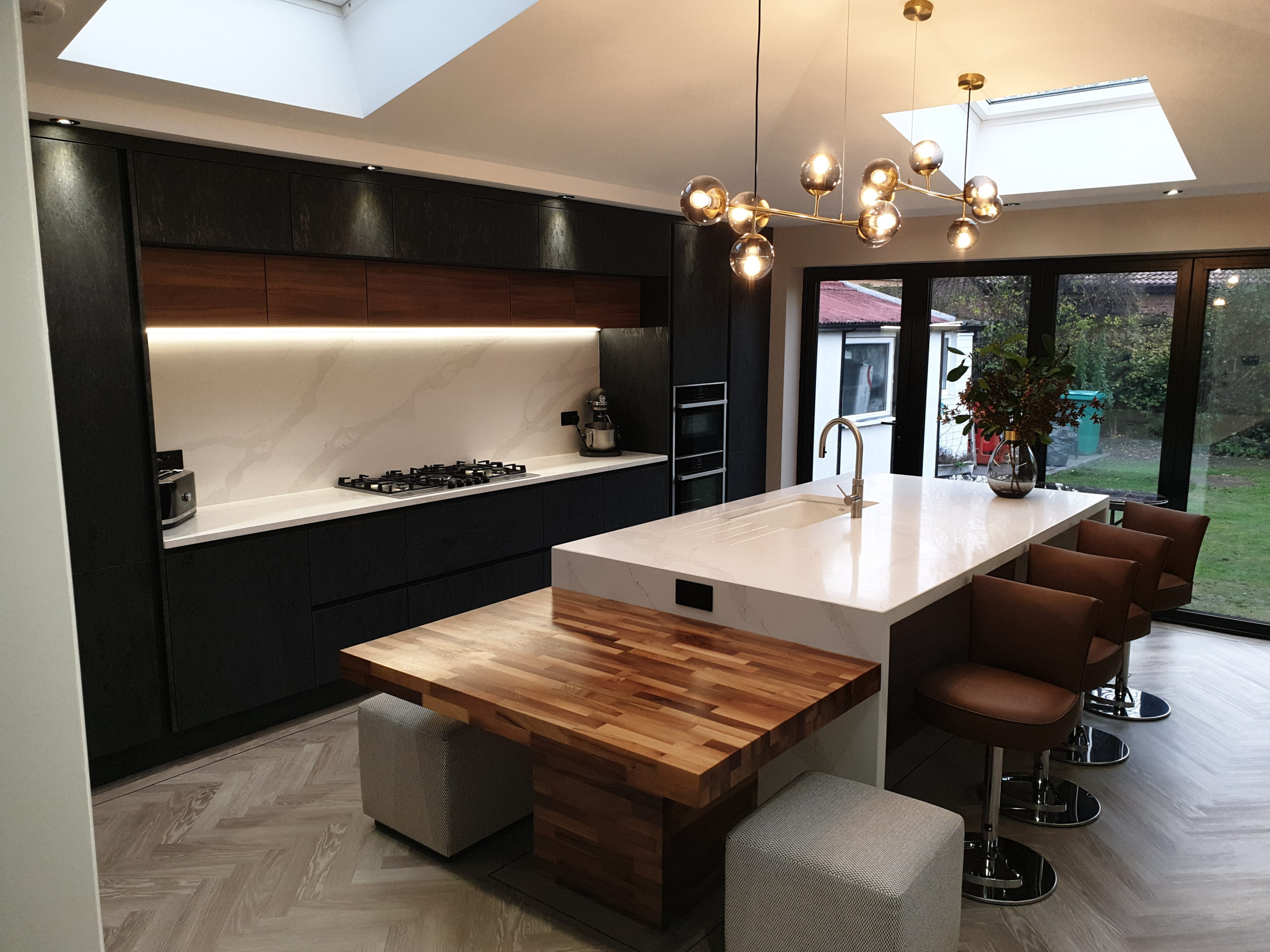Rich Luxurious Kitchen with Large Island and Split level Seating